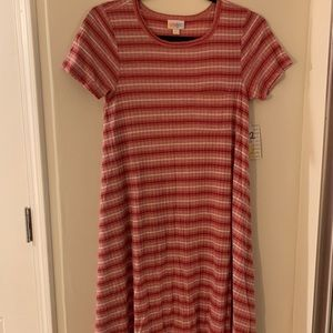 LuLaRoe Carly ribbed red pink white ombré xxs
